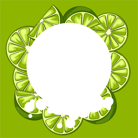 Background with limes. Fresh healthy juice. Delicious flavored cold drink. Green stylized citrus fruits whole and slices.