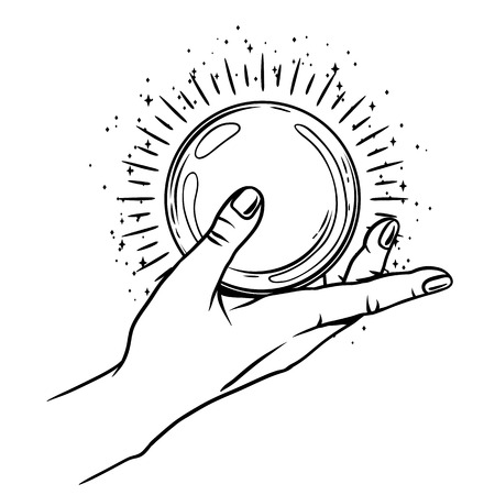 Open hand with magic ball. Spirituality, astrology and esoteric concept. Black and white hand drawn illustration.