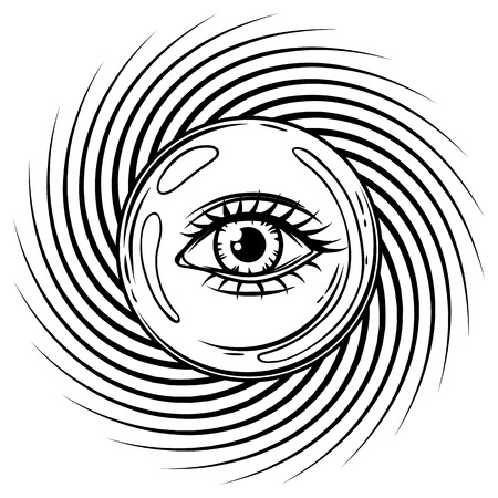 Magic ball with all seeing eye symbol. Spirituality, astrology and esoteric concept. Black and white hand drawn illustration. Illustration