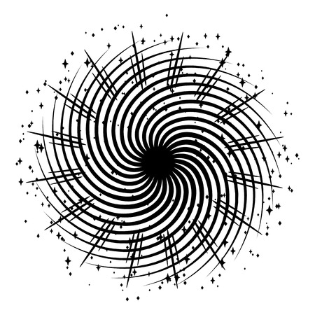 Hypnotizing spiral with rays and stars. Black and white illustration of magical fire.