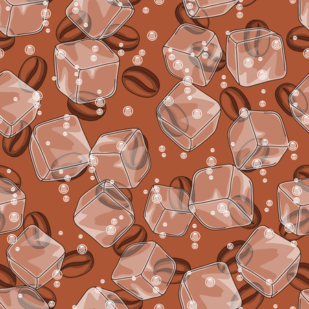 Seamless pattern with coffee beans. Delicious flavored cold drink. Ice cubes and soda bubbles.
