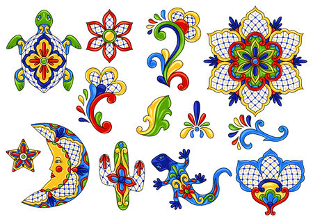 Mexican traditional decorative objects. Talavera ornamental ceramic. Ethnic folk ornament. Reklamní fotografie - 111198984