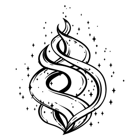 Magic fire with stars. Black and white hand drawn illustration.