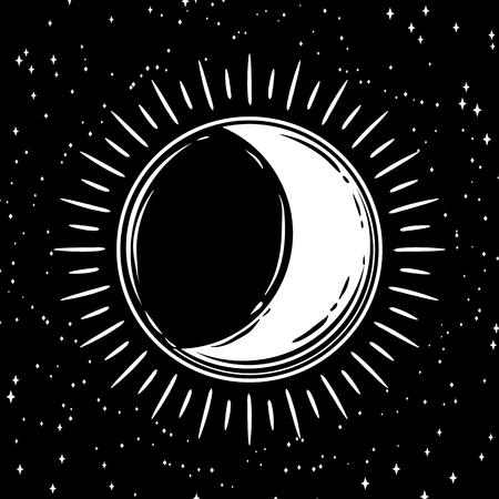 Bohemian moon. Vector tattoo hand drawn illustration.