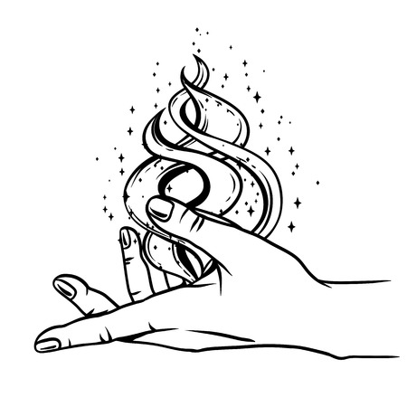 Open hand with magic fire. Spirituality, astrology and esoteric concept. Black and white hand drawn illustration. Banque d'images - 121747576