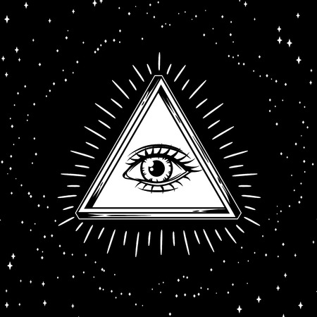 Infinite triangle with all seeing eye symbol.
