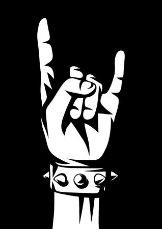 Rock and roll or heavy metal hand sign. Two fingers up emblem. Фото со стока - 112588976