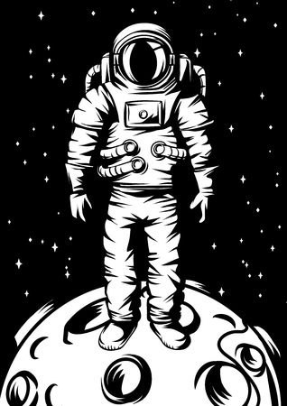 Illustration of astronaut on moon. Spaceman in suit. Cosmonaut in outer space.