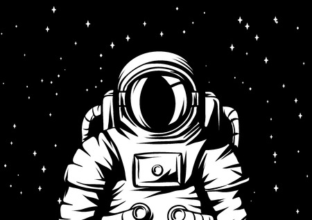 Illustration of astronaut. Spaceman in suit. Cosmonaut in outer space.