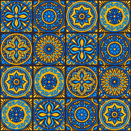 Moroccan ceramic tile seamless pattern. Ethnic floral motifs. Mediterranean traditional folk ornament. Portuguese azulejo, mexican talavera or spanish majolica. Illustration