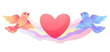 Feliz día de San Valentín tarjeta de felicitación. Fondo con pájaros y corazón.