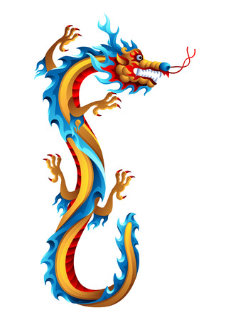Illustration of Chinese dragon. Mascot or tattoo. Traditional China symbol. Asian mythological color animal.