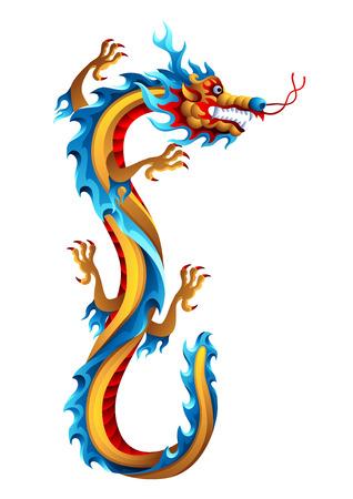 Illustration of Chinese dragon. Mascot or tattoo. Traditional China symbol. Asian mythological color animal.