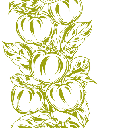 Seamless pattern with apples and leaves. Stylized hand drawn fruits.