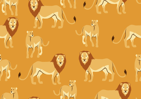 Seamless pattern with of lions. Wild African savanna animals on white background.