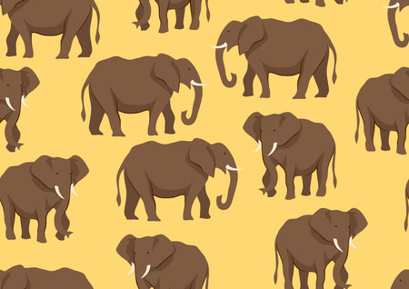 Seamless pattern with of elephants. Wild African savanna animals on white background.