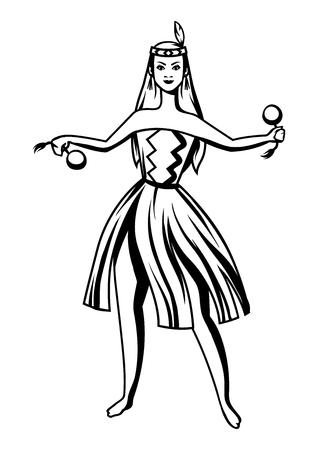 Black and white maori girl dancing. Stylized engraving illustration. Vetores