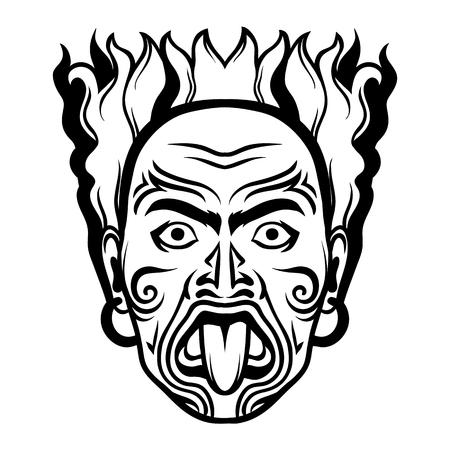 Maori traditional mask. Tattoo on face of aborigine. Native man.