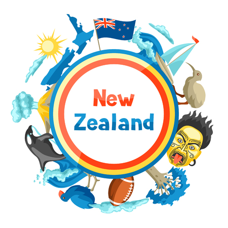 New Zealand background design. Oceanian traditional symbols and attractions. Ilustração