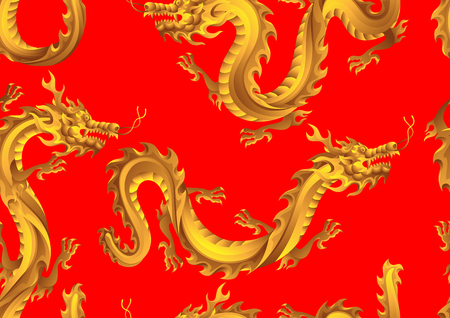 Patrones sin fisuras con dragones chinos. Símbolo tradicional de China. Animales dorados mitológicos asiáticos. Ilustración de vector