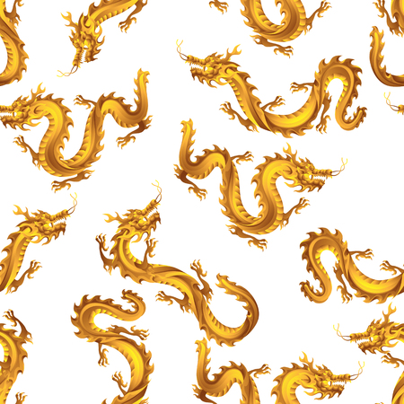 Seamless pattern with Chinese dragons. Traditional China symbol. Asian mythological golden animals.