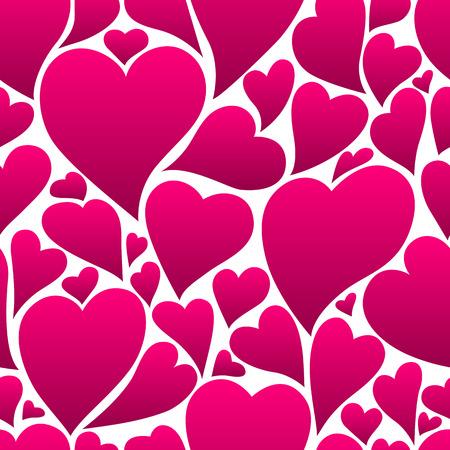 Happy Valentine Day seamless pattern. Pink hearts shape. Love romantic background. weeding design.
