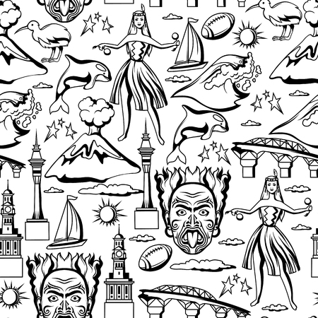 New Zealand seamless pattern. Oceanian traditional symbols and attractions. Stock Illustratie