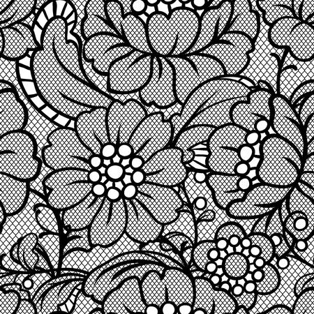 Modello di pizzo senza soluzione di continuità con i fiori. Tessile di moda vintage.