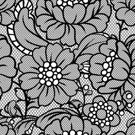 Wzór koronki bez szwu z kwiatami. Włókienniczych moda vintage.