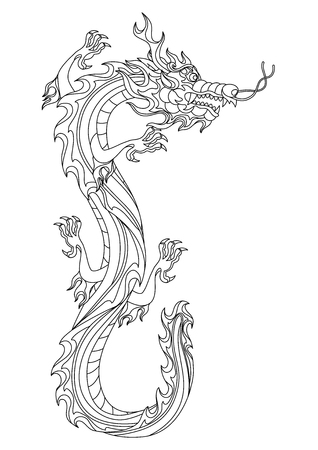 Illustration of Chinese dragon. Coloring page for printing and drawing. Traditional China symbol. Asian mythological black animal.