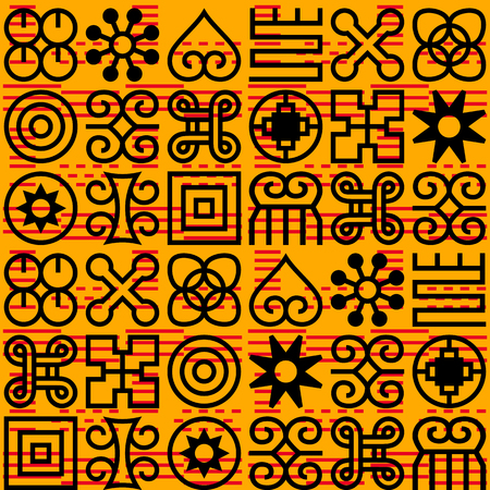 Seamless African Adinkra pattern. Hand stamp printing. National ritual black and white symbols.