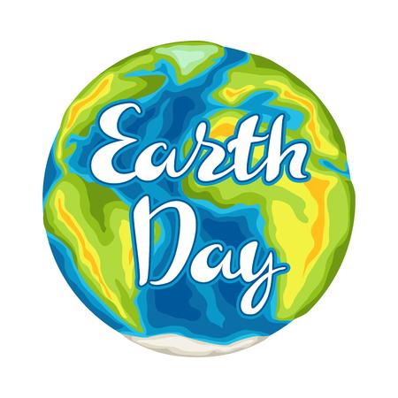 Tarjeta feliz del día de la tierra. Ilustración para la celebración de la seguridad del medio ambiente. Ilustración de vector