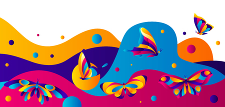 Banner design with butterflies. Colorful bright abstract insects.