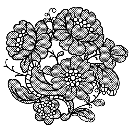 Lace ornamental decoration with flowers. Vintage fashion textile. Vettoriali