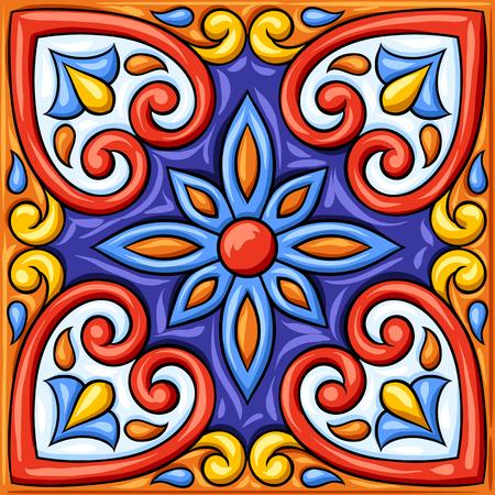 Mexican talavera ceramic tile pattern. Ethnic folk ornament. Italian pottery, portuguese azulejo or spanish majolica. Vector Illustratie