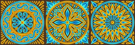 Moroccan ceramic tile pattern. Ethnic floral motifs. Mediterranean traditional folk ornament. Portuguese azulejo, mexican talavera or spanish majolica.