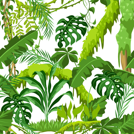 Seamless pattern with jungle plants. Tropical leaves. Woody natural rainforest.
