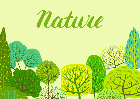 Spring or summer background with stylized trees. Natural illustration. Banco de Imagens - 121748002