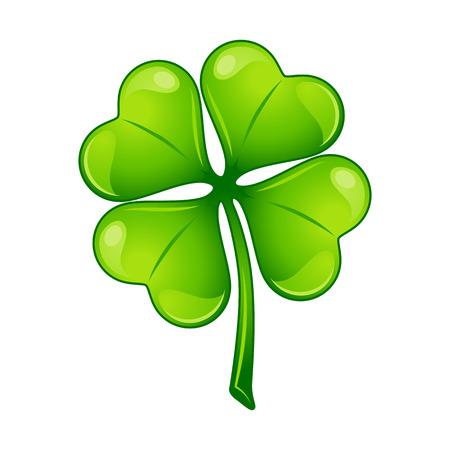 Saint Patricks Day illustration. Irish four leaf clover. Festive national icon.
