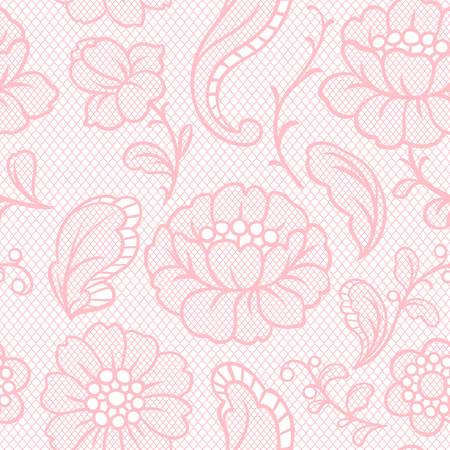 Seamless lace pattern with flowers. Vintage fashion textile. Vector Illustration