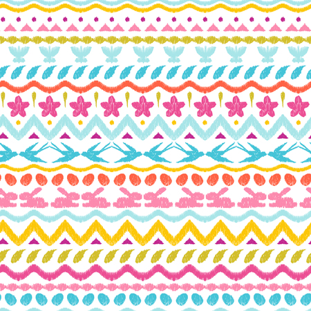 Happy Easter ikat seamless pattern. Ornament texture with holiday items. Mengikat textile. Reklamní fotografie - 117594104