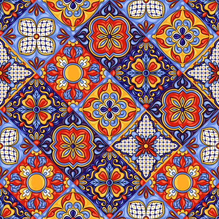 Mexican talavera ceramic tile pattern. Ethnic folk ornament. Italian pottery, portuguese azulejo or spanish majolica. 向量圖像