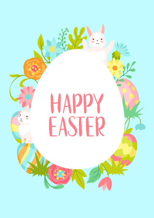 Happy Easter greeting card. Cute bunnies, eggs and flowers for traditional celebration.