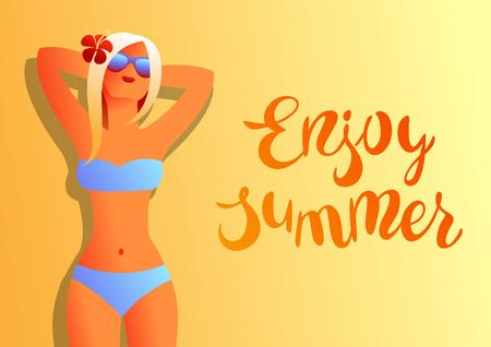 Girl in bikini on beach. Beautiful tanned blond woman in sunglasses.