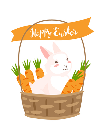Happy Easter greeting card. Holiday illustration with bunny and carrot in bucket.