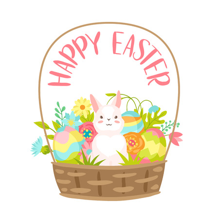 Happy Easter greeting card. Holiday illustration with bunny in bucket. Illustration