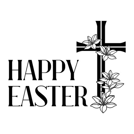Happy Easter concept illustration. Cross and lilies. Greeting card. with religious symbol of faith. Ilustração Vetorial