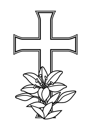 Happy Easter concept illustration. Cross and lilies. Greeting card. with religious symbol of faith. Illusztráció