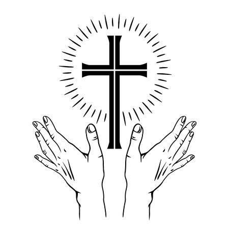 Ilustración de concepto de Pascua feliz. Cruz y lirios. Tarjeta de felicitación. con símbolo religioso de la fe.
