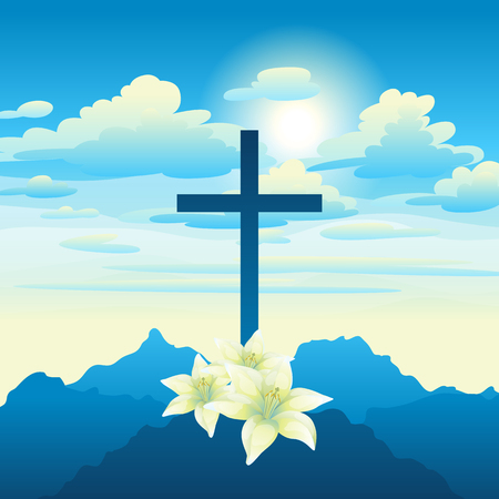 Easter illustration. Greeting card with cross and lilies. Religious symbol of faith.